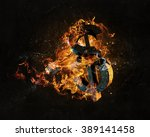 dollar symbol in fire | Shutterstock . vector #389141458
