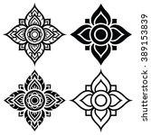 thai folk art pattern   flower...   Shutterstock .eps vector #389153839