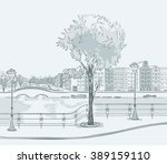sketch of urban panorama. part... | Shutterstock .eps vector #389159110