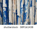Old Bamboo Wall With Blue...