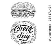 hand drawn cheat day card with ... | Shutterstock .eps vector #389171434