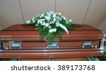 funeral service with casket on... | Shutterstock . vector #389173768