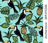 tropical bird pattern | Shutterstock .eps vector #389193286