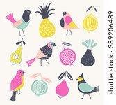 birds and fruits. print design | Shutterstock .eps vector #389206489