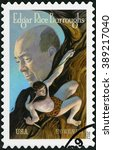 Small photo of CHICAGO, USA - AUGUST 17, 2012: A stamp printed in USA shows portrait of Edgar Rice Burroughs (1875-1950), writer