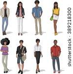 group of fashion cartoon black... | Shutterstock .eps vector #389218300