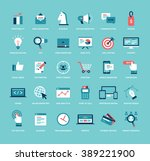 flat style marketing icon set.... | Shutterstock .eps vector #389221900
