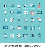 flat style marketing icon set.... | Shutterstock .eps vector #389221900
