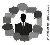 man silhouette with thought... | Shutterstock .eps vector #389223178