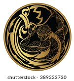 gold aquarius on circle shape | Shutterstock .eps vector #389223730