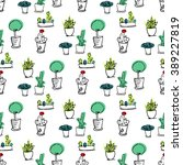 plants seamless pattern.... | Shutterstock .eps vector #389227819
