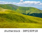 wild grass on Carpathian highland meadow at the top of the mountain range - stock photo
