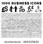 1000 business icons and bank service pictograms. Style is flat black symbols on a white background. Good for commercial web sites and apps. | Shutterstock vector #389235820