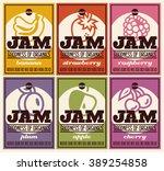 organic fruits jam labels retro ... | Shutterstock .eps vector #389254858
