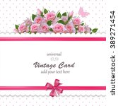 Stock vector spring vintage card with roses universal vector template floral background or wallpaper save the 389271454