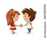 children shaking hands  vector... | Shutterstock .eps vector #389285983