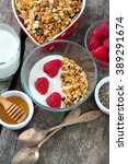 healthy snack   granola on... | Shutterstock . vector #389291674