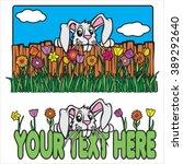 cute easter bunny rabbit...   Shutterstock .eps vector #389292640