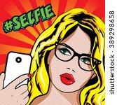 pop art blonde woman with... | Shutterstock .eps vector #389298658