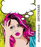 pop art woman   bubble sign.... | Shutterstock .eps vector #389298688