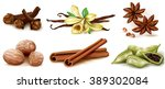 different spices set on white... | Shutterstock .eps vector #389302084