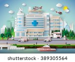 hospital building and emergency ... | Shutterstock .eps vector #389305564