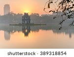 sun rising behind the turtle... | Shutterstock . vector #389318854