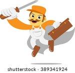 mechanic hero with screwdriver | Shutterstock .eps vector #389341924