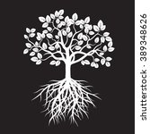 white tree and roots. vector...   Shutterstock .eps vector #389348626