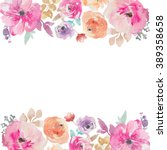 Stock photo colorful watercolor flower border painted flower background painted flower border watercolor 389358658