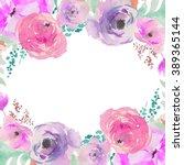 purple watercolor flower wreath.... | Shutterstock . vector #389365144