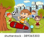 cute happy cartoon kids playing ... | Shutterstock .eps vector #389365303