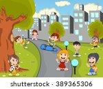 cute happy cartoon kids playing ... | Shutterstock .eps vector #389365306