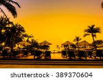 beautiful silhouette palm tree...   Shutterstock . vector #389370604