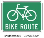 bicycle route guide sign on... | Shutterstock . vector #389384224