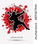 samurai warrior with bow ...   Shutterstock .eps vector #389387944