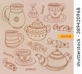 vector set of pottery in ink... | Shutterstock .eps vector #389420968