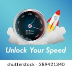 internet speed test meter with... | Shutterstock .eps vector #389421340