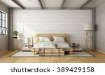 Wooden Double Bed In Loft With...