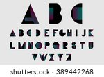 black alphabetic fonts and... | Shutterstock .eps vector #389442268