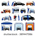 automatic car wash service... | Shutterstock .eps vector #389447086