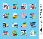loan debt flat color icons set... | Shutterstock .eps vector #389447128