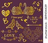 vector set with design elements ... | Shutterstock .eps vector #389454439