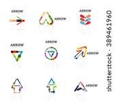 set of linear arrow abstract... | Shutterstock .eps vector #389461960