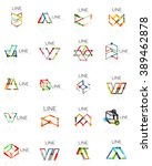 set of linear abstract logos ... | Shutterstock .eps vector #389462878