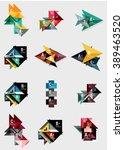 set of paper design style... | Shutterstock .eps vector #389463520