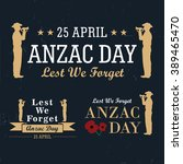 anzac day labels | Shutterstock .eps vector #389465470