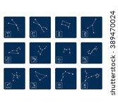 monochrome icon set with zodiac ... | Shutterstock .eps vector #389470024