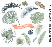 set of trendy tropical leaves ... | Shutterstock .eps vector #389480596