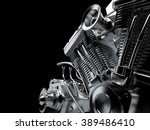 Motorcycle Engine Close Up On...